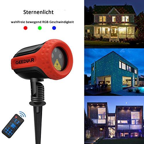 Weinachten garten Projektionslampe RGB Strahler ferngesteuert LED Projekt Lampe mit Stecker, Aluminium-Körper mit Kautschuk Schutz, 5m Stromkabel, wasserdicht