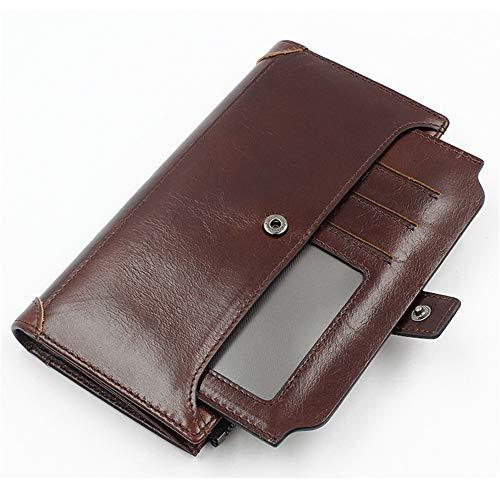 Schnalle Reißverschluss Leder Geldbörse braun 9,5 cm * 19 cmRobustes doppeltes Falten - Visitenkartenhalter - Münztasche - Box usw. für mehrere Zwecke -