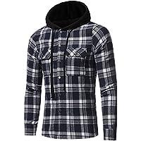 riou Botón Camisa de Manga Larga con Capucha y Cuadros de Otoño Invierno Casual Chaqueta Ropa
