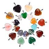 Juanya - Colgantes de piedra con forma de corazón, colgantes de cristal chacras para hacer collares y joyas (20 piezas, 2 tamaños, varios colores)