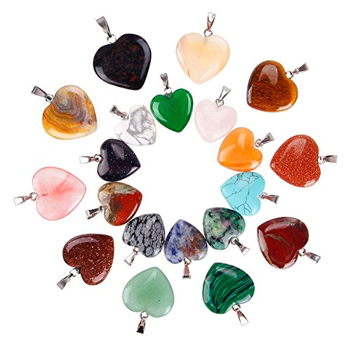 Juanya 20 pezzi ciondoli in pietra a forma di cuore, pendenti con cristalli dei chakra per realizzare collane e gioielli fai-da-te, 2 dimensioni, colori assortiti