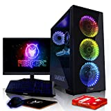 Fierce Maniac RGB Gaming PC Bundeln - Schnell 4.1GHz Hex-Core Intel Core i5 8500, 480GB SSD, 8GB 2666MHz, AMD Radeon RX 550 2GB, Tastatur (QWERTZ), Maus, 24-Zoll-Monitor 1071476