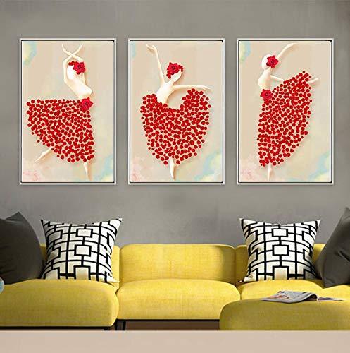 Leinwand Moderne Kunst Malerei Stil Kreative Figur Tanz Kostüm Blumendekoration Bild Drucken Leinwand Poster Dekoration Ohne Rahmen (Kreative Kostüm Bilder)