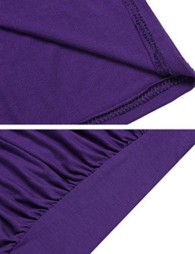 Beyove Damen Sexy V-Ausschnitt Wickelshirt Kurzarm/Langarm Slim Fit Shirt Bluse Obertail mit Rüschen Lila