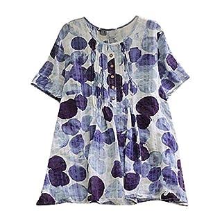 Lazzboy Women Tops Blouse 3/4 Long Sleeve Ladies Plaid Print Loose Casual Slouch Shirt Plus Size Oversized(2XL(16),Purple-Circles)