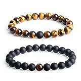 coai Partner Armband Distance Bracelets aus Matt Onyx und Tigerauge
