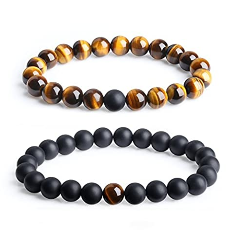 Long Distance Relationship Onyx and Tiger Eye Gemstone Matching Set