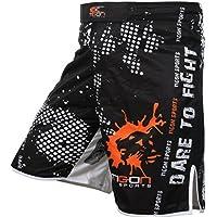 Tigon Pro lucha cortos UFC MMA Kick Boxing pantalones cortos pantalones gimnasio Gel, Black, White, Orange