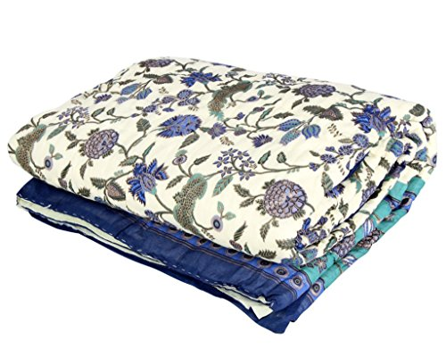 Stole & Yarn Blue Round Flower Single Bed Soft Indian Quilt Jaipuri Razai Blanket Cotton Rajai Light Weight Blanket Printed Dohar Comforter