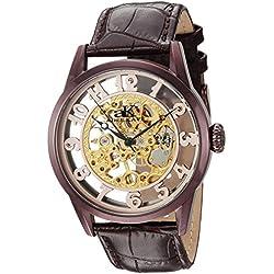 """Adee Kaye Herren Kollektion Glas """"Mechanische Hand Wind Edelstahl und Leder Casual Uhr, Farbe: Schokolade Braun (Modell: ak2296-mipbr)"""