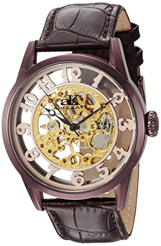 Adee Kaye Men's 'Glass Collection' Mechanical Hand Wind Stainless Steel and Leather Casual Watch, Color Chocolate Brown (Model: AK2296-MIPBR)
