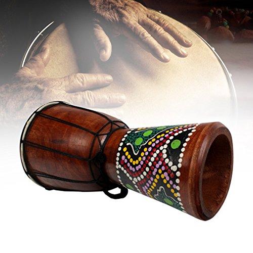 Leoboone 4 Zoll Afrikanische Djembe Percussion Handtrommel Mahagoni Holz Jambe Doumbek Schlagzeuger mit Muster Reine Ziegenhaut Oberfläche