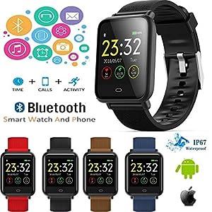 JASZHAO Bunter Bildschirm Wasserdichte Sport Smart Watch für Android/iOS mit Herzfrequenzerkennung Blutdruckfunktionen