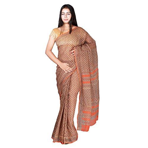 Panvi Kota Silk Cotton Saree (P-22_Hand Block Printed Maroon & Orange_Free Size)
