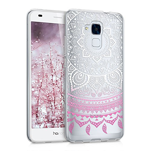 kwmobile Huawei Honor 5C Hülle - Handyhülle für Huawei Honor 5C - Handy Case in Rosa Weiß Transparent