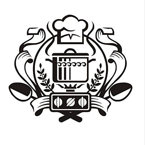 xmydeshoop Chef Abzeichen Wandaufkleber Ausgangsdekor Wandbild Kunst Aufkleber Kessel Auf Dem Gasherd Wandaufkleber Vinyl Küche Esszimmer Aufkleber 66X58 cm
