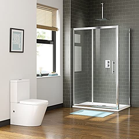 1000 x 800mm Sliding Easy Clean Glass Shower Enclosure with Side Panel + Tray Set by iBathUK