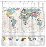 ¡NUEVO! Mapa de la cortina de ducha del mundo con detalles grandes ciudades. Tela libre de PVC, no tóxica y...