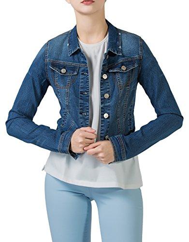 PERHAPS U Damen Jeansjacke Leichte Blouson Jacke Denim Jacket M Blau
