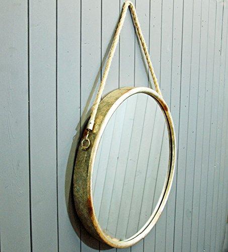 Bowley and Jackson Espejo Ojo de Buey Estilo Vintage de Metal Redondo con Cuerda para Colgar.
