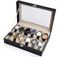 SAPU Black Leather 12 Watch Box Case Organizer Display Storage Tray for Men & Women