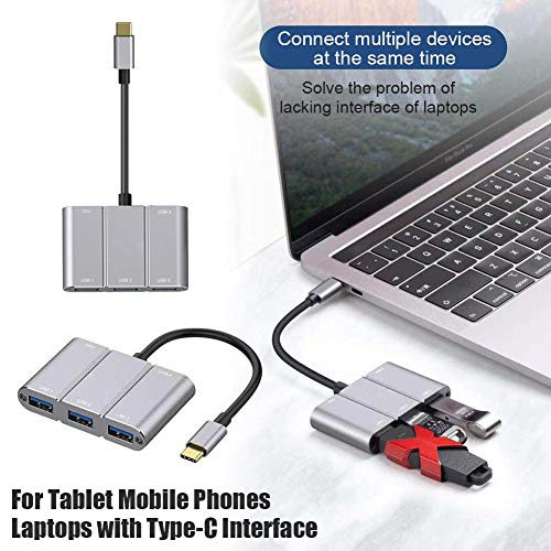 e lädt USB Typ C auf 4 USB3.0- und PD3.0-Hub für Tablet-Handys Laptops mit Typ-C-Schnittstelle auf ()