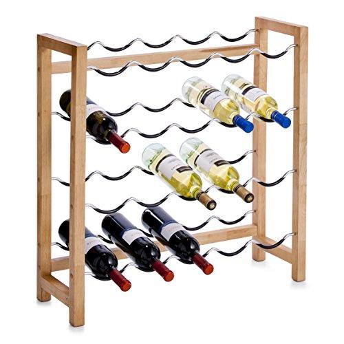 Zeller 13137 Weinregal für 20 Flaschen, Gummibaum/Metall / 70 x 23 x 71