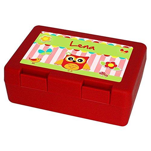 brotdose mit namen lena und sch nem eulen motiv f r m dchen rot brotbox vesperdose. Black Bedroom Furniture Sets. Home Design Ideas