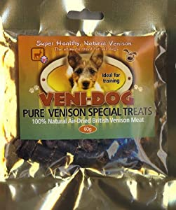 Veni-Dog - Pure Venison Treats For Dogs - 100% Natural Air Dried Venison Meat - 60g from Petcor Ltd