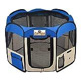 Zampa 45' Animaux Parc Chien Portable Pliable/Chat/Chiot chenil d'exercice (Moyen (45' x 45' x 24'), Bleu)