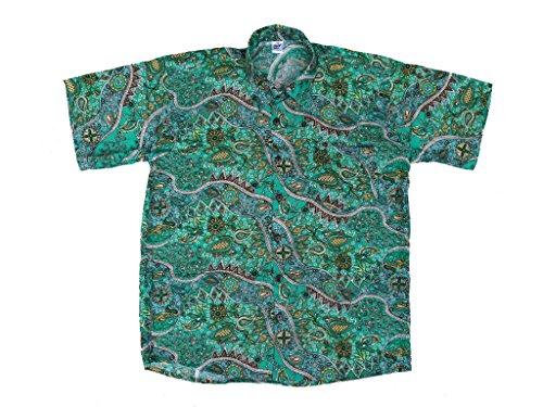Ontop-Fashion Hawaiihemd Hawai Freizeit Hemd Shirt Viskose Dklgrün Blumen Paisley, Größe:XL (Kurzarm Hemden Paisley)