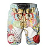 Photo de Mens Swim Trunks Summer Cool Quick Dry Board Shorts Bathing Suit, Hipster Giraffe Animal with Glasses and Cap Geek Student in Education School par jiger