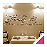 Exklusivpro Wandtattoo Wand-Spruch schöne Momente… mit SWAROVSKI (zit43 pink) 120cm