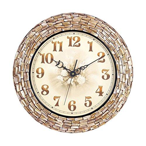 GAOLILI Handmade Creative Seashell Mosaic Wall Clock Living Room Clock Mediterranean Fashion Quartz Clock