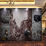 HONGYAUNZHANG Retro Stadt Straße Benutzerdefinierte Fototapete 3D Stereoskopischen Wandbild Wohnzimmer Schlafzimmer Sofa Hintergrund Wandmalereien,60Cm (H) X 80Cm (W)