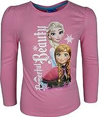 Idea Regalo - Bambine e ragazze Disney Frozen Elsa & Anna a manica lunga Maglietta / T-Shirt Rosa-6 Anni / 116 cm
