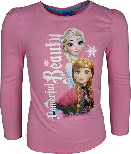 Bambine e ragazze disney frozen elsa & anna a manica lunga maglietta / t-shirt rosa-6 anni / 116 cm