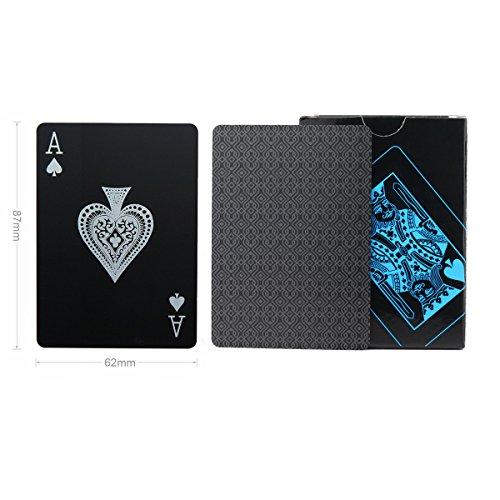 Wasserdichtes Pokerkarten schwarze Spielkarten Profi Poker Karte Spielkarte playing cards aus Plastik Top Qualität Plastic Poker für Ihr Poker Vergnügen (Schwarz) - 4