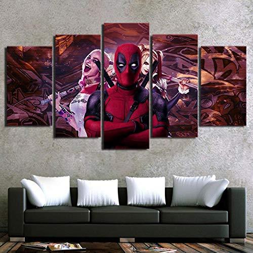 JGWLH Bild 200X100 cm Wandkunst Leinwand Malerei Hd Drucken Dekoration Iron Man Clown 5 Stück Modulare Wohnzimmer Bild Movie Art Poster - Clown Drucken