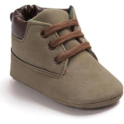 Malloom Bebé niño cuero suela suave infantil niña niño zapatos con cordones