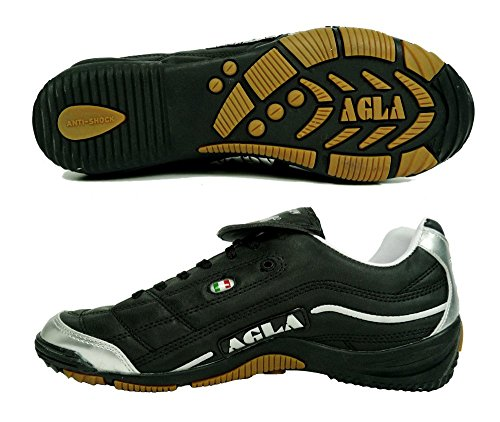 AGLA PROFESSIONAL EVOLUTION TOP 1 INDOOR BLACK SILVER scarpe calcetto calcio a 5, NERO ARGENTO, EUR 40.5