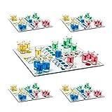 5er Set Trinkspiel Drinking Ludo, Party-Spaß, 2 Würfel, 16 Schnapsgläser, Partyspiel für Erwachsene, aus Glas, 30 x 30 cm