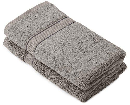 Pinzon by Amazon Handtuchset aus Baumwolle, Grau, 2 Handtücher