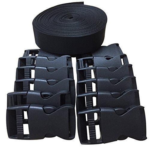 2,5 heavy nylon strap cm wide + 12 black plastic buckles from 25 mm, Black25MM10 yards, 25MM10 yards