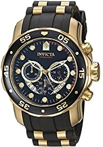 Invicta Pro Diver Men's Quartz Watch with Black Dial  Chronograph display on Black Rubber Strap 6981