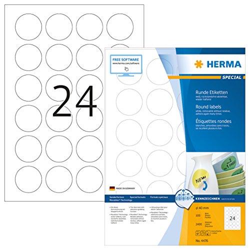 Herma 4476 Universal Etiketten rund, ablösbar (Ø 40 mm) weiß, 2.400 Aufkleber, 100 Blatt DIN A4 Papier matt, bedruckbar, selbstklebend, Movables