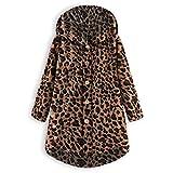 iHENGH Damen Herbst Winter Bequem Mantel Lässig Mode Jacke Frauen Mode Frauen Knopf Mantel Flauschige Schwanz Tops Mit Kapuze Pullover Lose Pullover