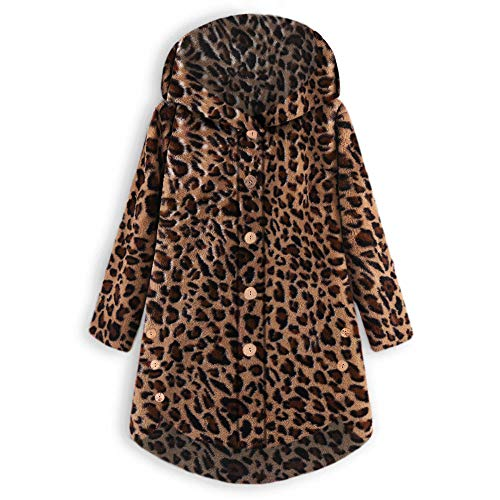 iHENGH Damen Herbst Winter Bequem Mantel Lässig Mode Jacke Frauen Knopf Leopard Mantel Flauschige Schwanz Tops mit Kapuze Lose(Braun, M) -