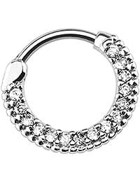 Piersando Piercing Scharnier Clicker Ring Schild Tribal mit Kristall Strass Steinen Vintage Septum für Tragus Helix Ohr Nase Lippe Brust Intim