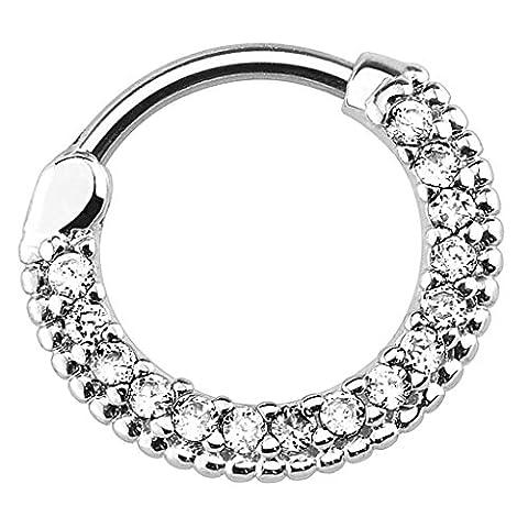 Piersando Piercing Scharnier Clicker Ring Schild Tribal mit Kristall Strass Steinen Vintage Septum für Tragus Helix Ohr Nase Lippe Brust Intim Silber Clear 1,2mm